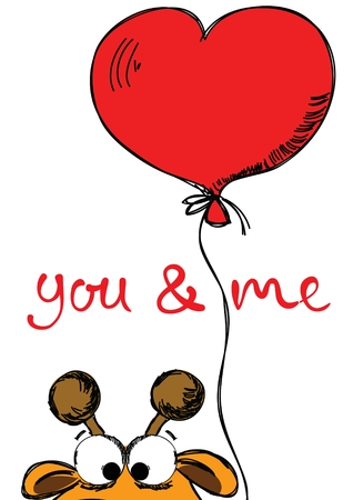 Valentines Day Greeting Card with cute giraffe