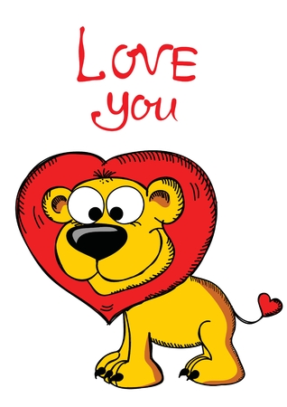 Valentines Day Greeting Card with cute lion
