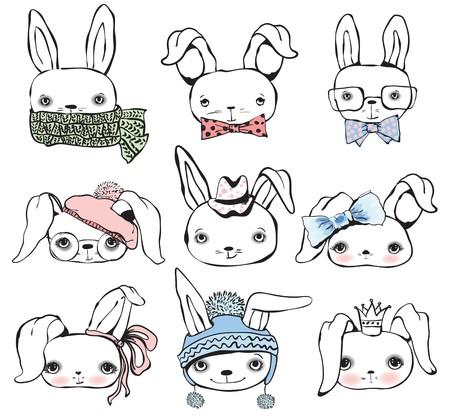 Set of rabbit boys and girls cute portraits.