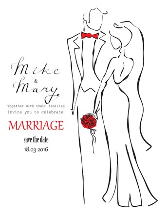 wedding bride: Wedding invitation card with groom and bride Illustration