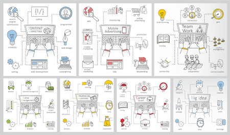 Set of business process cards: content marketing. Illustration