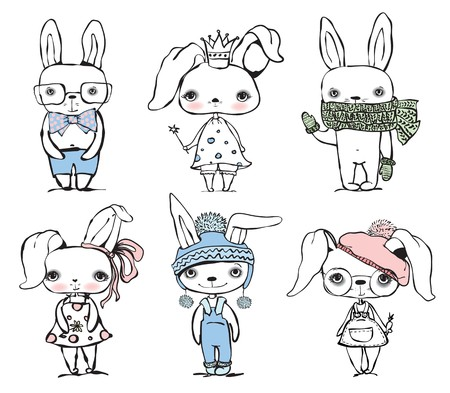 baby animal: Set of cute different bunnies doodle vector template.