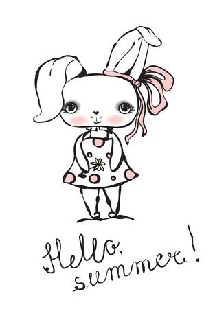 Vector card with cute Rabbit.
