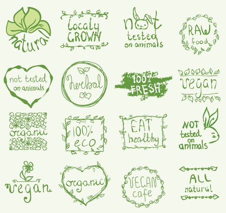 food to eat: Set of 16 vector icons.100% bio, eat local, healthy food Illustration
