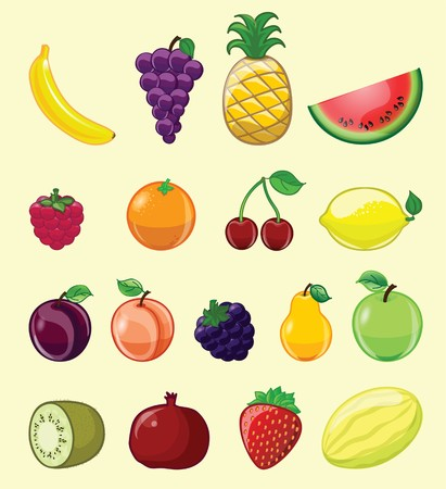 Set of cartoon vector illustrations vegetables and fruits
