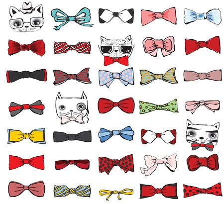 cat suit: Set of tie-bow with hipster cats. Illustration