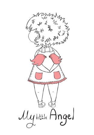 fairytale: Cute vector doodle girl angel.