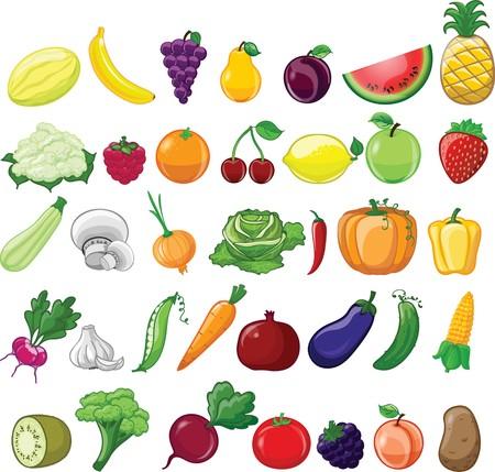 벡터 일러스트 만화 야채와 과일 세트 일러스트