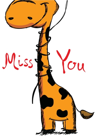 heart month: Valentines Day Greeting Card with cute giraffe
