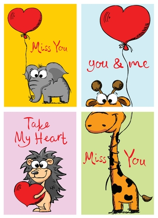 Valentines Day Greeting Cards with cute giraffe