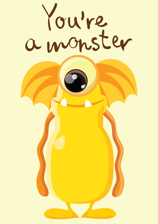 ugly gesture ugly gesture: Vector card with cute monster