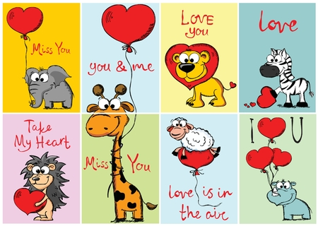Set of 8 Vector Valentine's cards with cute animals