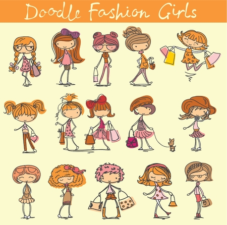 dog walking: Vector set of 15 cute fashion doodle girls.