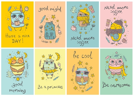 cute cards: Set of 8 Vector cards with cute hipster and tribal owls Illustration