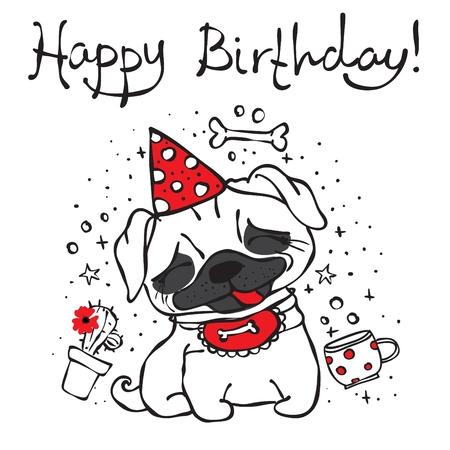 Alles Gute zum Geburtstag mit niedlichen Hand gezeichneten Mops Standard-Bild - 75409873