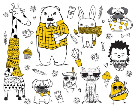 sketch drawing: Vector set of cute doodle hipster giraffe