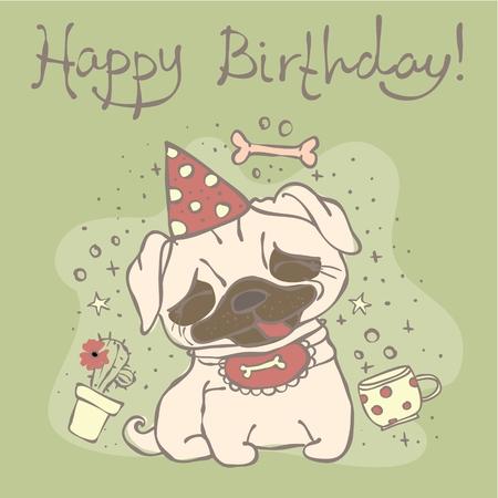 Vector card with cute pug puppy 矢量图像