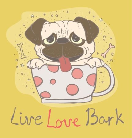 bark: Vector card with cute pug puppy Illustration