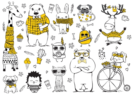 Vector set of cute doodle hipster giraffe, bears, deer