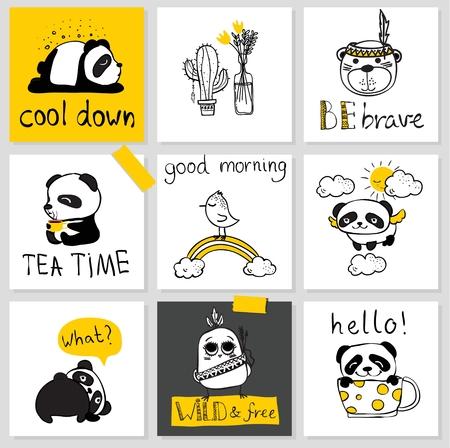 Set von 9 Kinderkarten mit einfachem Design von niedlichen Pandas und Vögeln Standard-Bild - 87435096