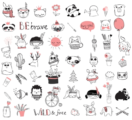 floral: Spring doodle collection. Simple design of cute animals