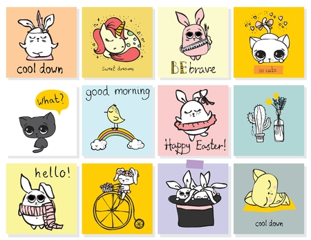 day: Set of vector kids cards with simple design of cute animals