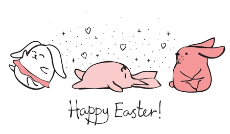 pink and black: Vector card with cute rabbits and hand drawn text Illustration