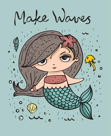 Summer card with cute fashion mermaid
