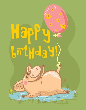 Vector Greeting Cards With Cute Pig And Happy Birthday Text Royalty