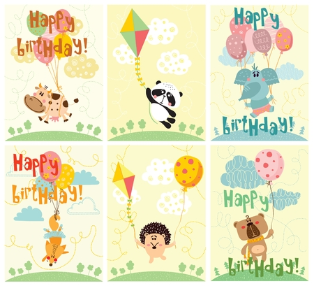 Vector greeting cards with cute animals and happy birthday text Иллюстрация