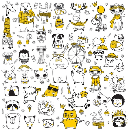 Vector set of cute doodle hipster and tribal style animals. Illustration