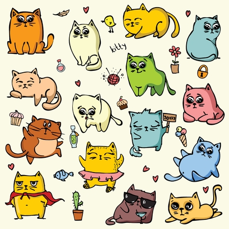 Vector set with color doodle cute cats for greeting card design