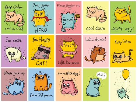 Set of 15 vector cards with cute funny cats. Çizim