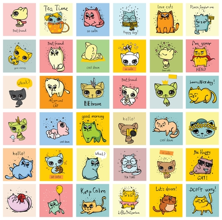 Cute kid cards with different doodle cats Ilustração