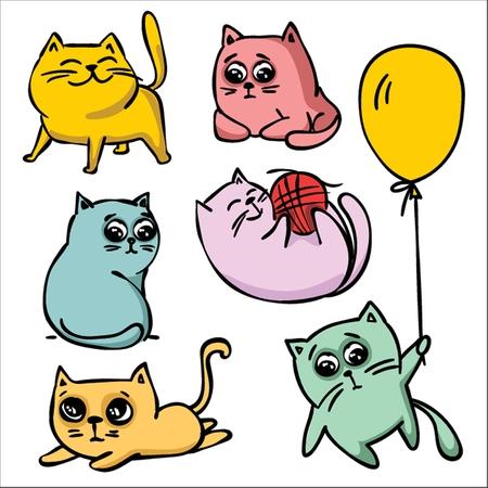 Vector cute funny doodle cats.