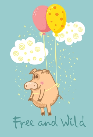 Vector card with colored cute flying pig and Free and wild text Ilustração