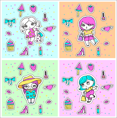 Vector cute stickers of fashion girls with packages and funny fashion things set