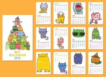 カレンダー2018。毎月かわいい猫。ベクトル。分離。