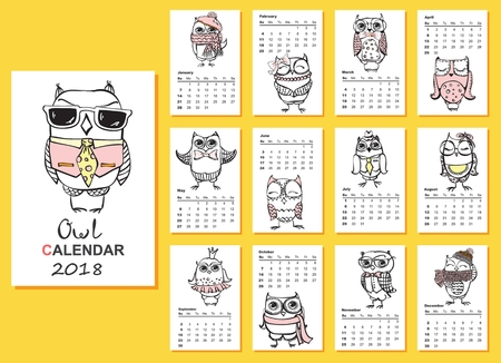 かわいいフクロウと、毎月の鳥暦 2018 年。