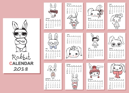 Calendar 2018. Cute rabbits for every month. Vector. Isolated.