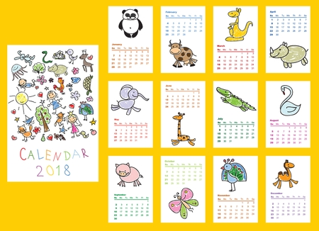 Calendar 2018. Cute doodle animals for every month. Vector. Isolated.