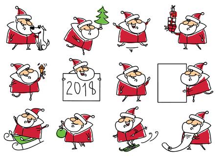 Christmas set of Santa Claus and symbol of the year Dog.