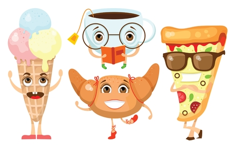 Cartoon funny food and drink character vector illustrations- ice-cream, pizza, croissant and cup. Illustration