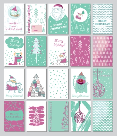 Collection of Christmas cards template 2018 Illustration