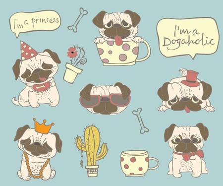 Illustration of cute hand drawn pugs.