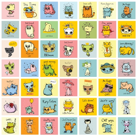 Big set of cards with cute funny animal.