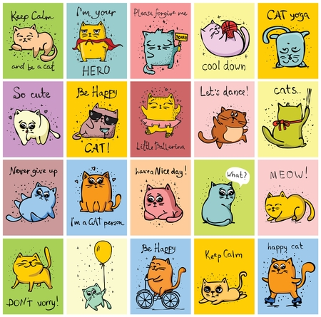 Big set of vector cards with cute funny cats and hand drawn text Ilustração
