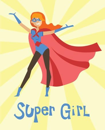 Super meisje illustratie. Stock Illustratie