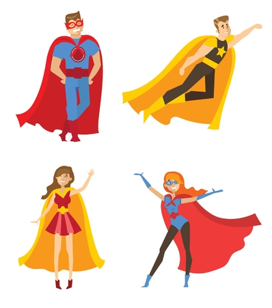 Illustration with female and male superheros.