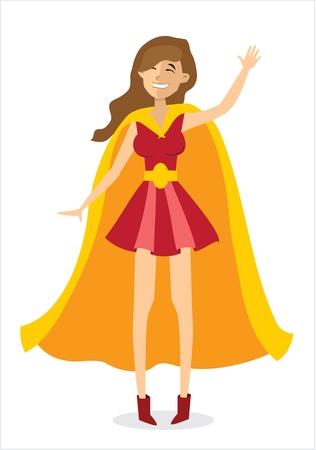 Vector illustration with female vector superhero.